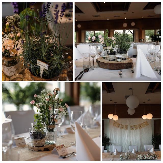 Dekoracje sali weselnej wykonane przez Parę Młodą. Bukiety i inne ozdoby na stół.