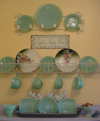 Friday's Find #141 mythriftstoreaddiction.blogspot.com Vintage jadeite collection in my kitchen!