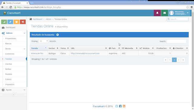 Lista de tiendas online administradas de manera centralizada en cucumart.com