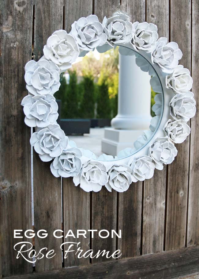 Best egg carton recycled craft idea - how to turn empty cardboard egg cartons into flowers to surround a mirror
