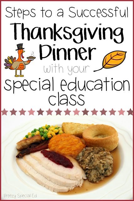 How to plan a thanksgiving dinner for your special education life skill classroom