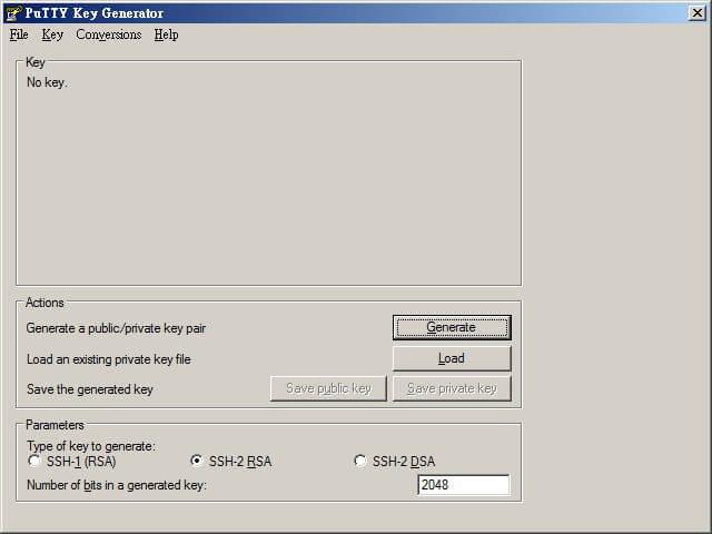 [教學] 使用 PuTTYgen 產生 SSH 連線 RSA、DSA 公鑰與私鑰_001
