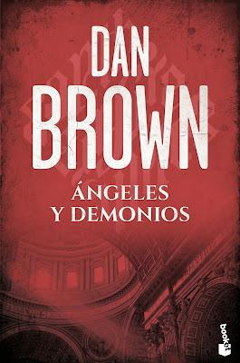 Portada de la novela Ángeles y Demonios de Dan Brown, en la que en un fondo rojo se pueden entrever la cúpula del Vaticano.