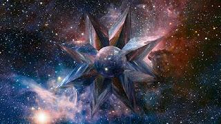 arte translucida de estrela no espaço colorido