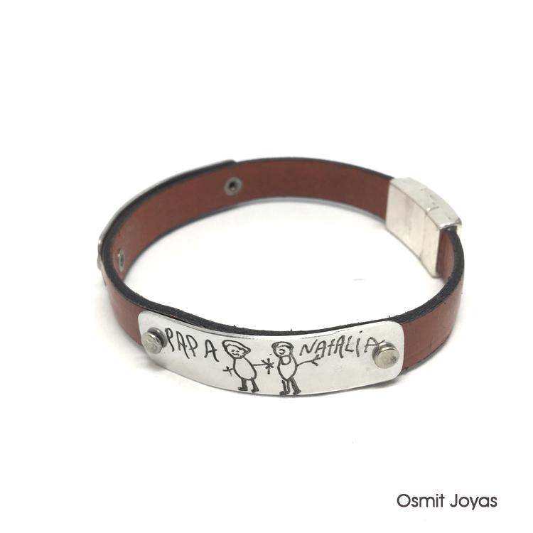 a384be9916e9 pulsera de cuero para hombre osmit joyas. pulsera personalizada ...