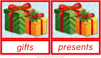 gifts and presents, Christmas flshcards in English