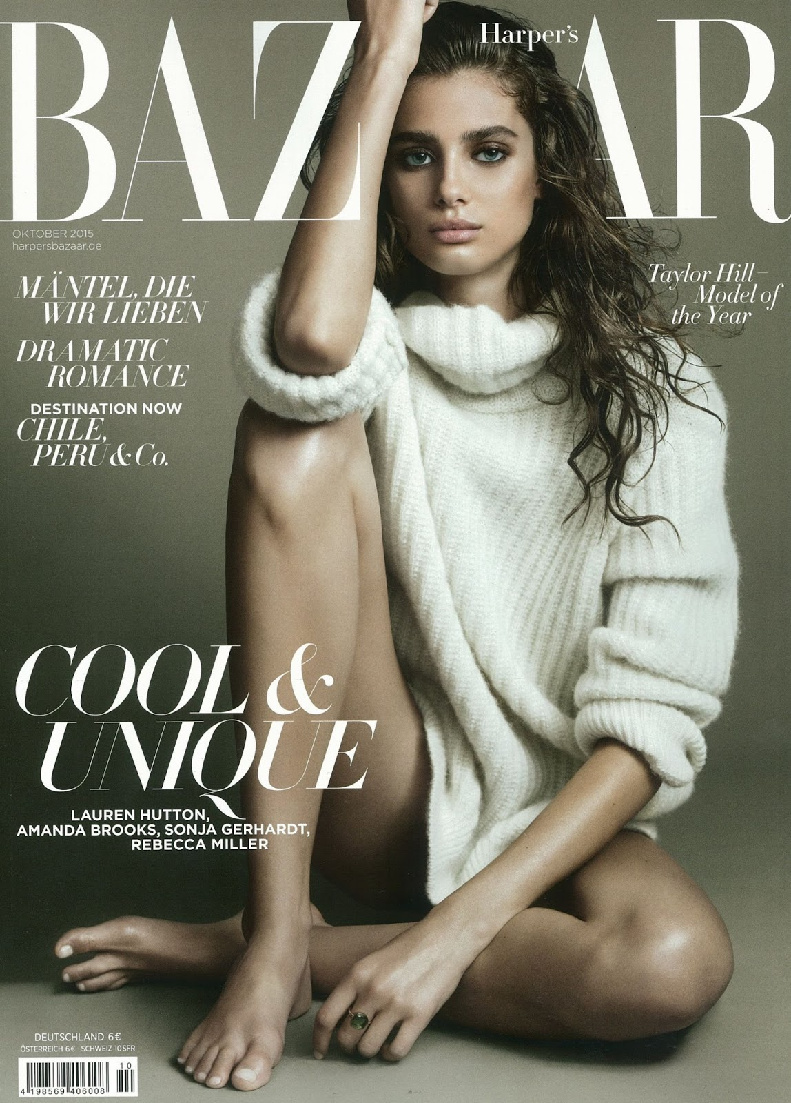 Hot and sexy American model on the cover of Bazaar magazine