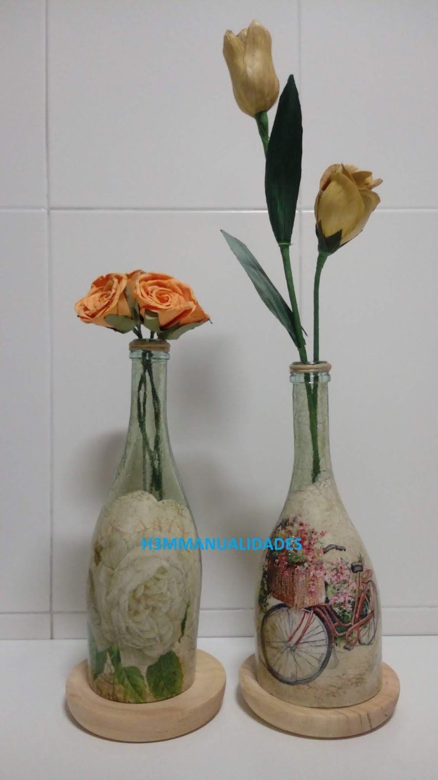 H3m manualidades botellas de cristal cortadas y decoradas - Manualidades con botellas de cristal ...