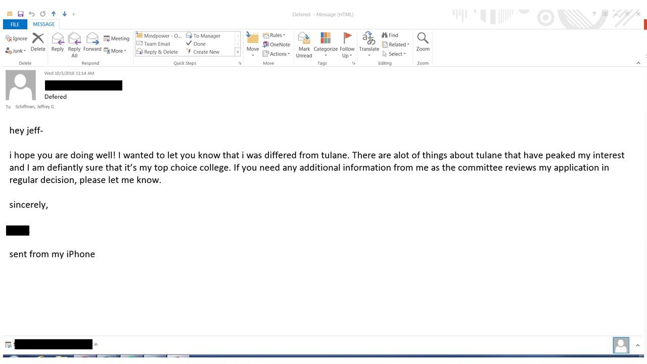 Tulane University Admission Blog - Jeff Schiffman: Eight Emails