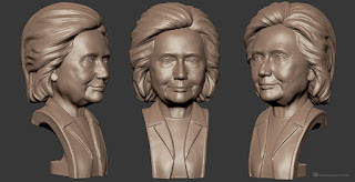 Hillary Clinton bust sculpture high polygon 3d model (MAX, OBJ, STL). The model UV-unwrapped (non-overlaping)