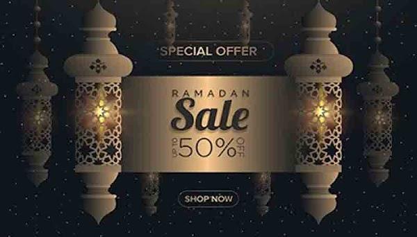 تصميمات شهر رمضان الكريم مسجد وخلفية سماء الليل Ramadan Kareem with mosque and night sky background