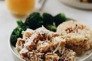 ORANGE COCONUT BAKED TOFU