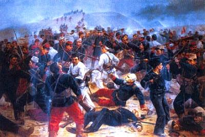 Dibujo de la Batalla de Arica a colores