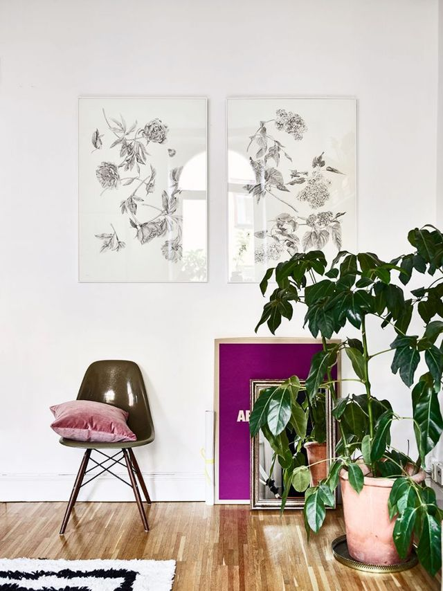 eames chair, houseplants, art, walldecor