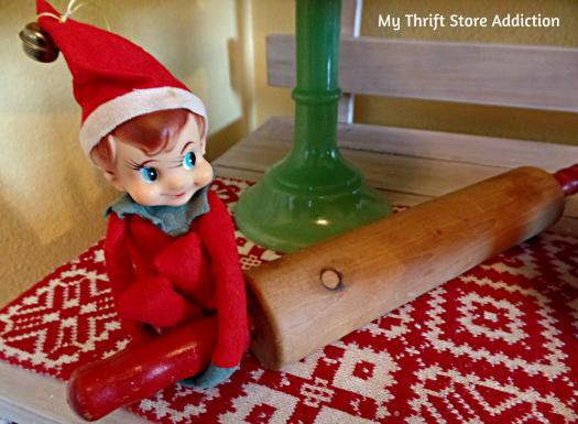 A Holly Jolly Jadeite Kitchen mythriftstoreaddiction.blogspot.com A vintage knee hugger elf and rolling pin