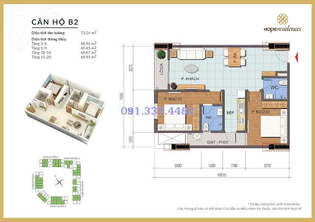 Mặt bằng thiết kế tòa Đơn Nguyên 2 Hope Residences Phúc Đồng
