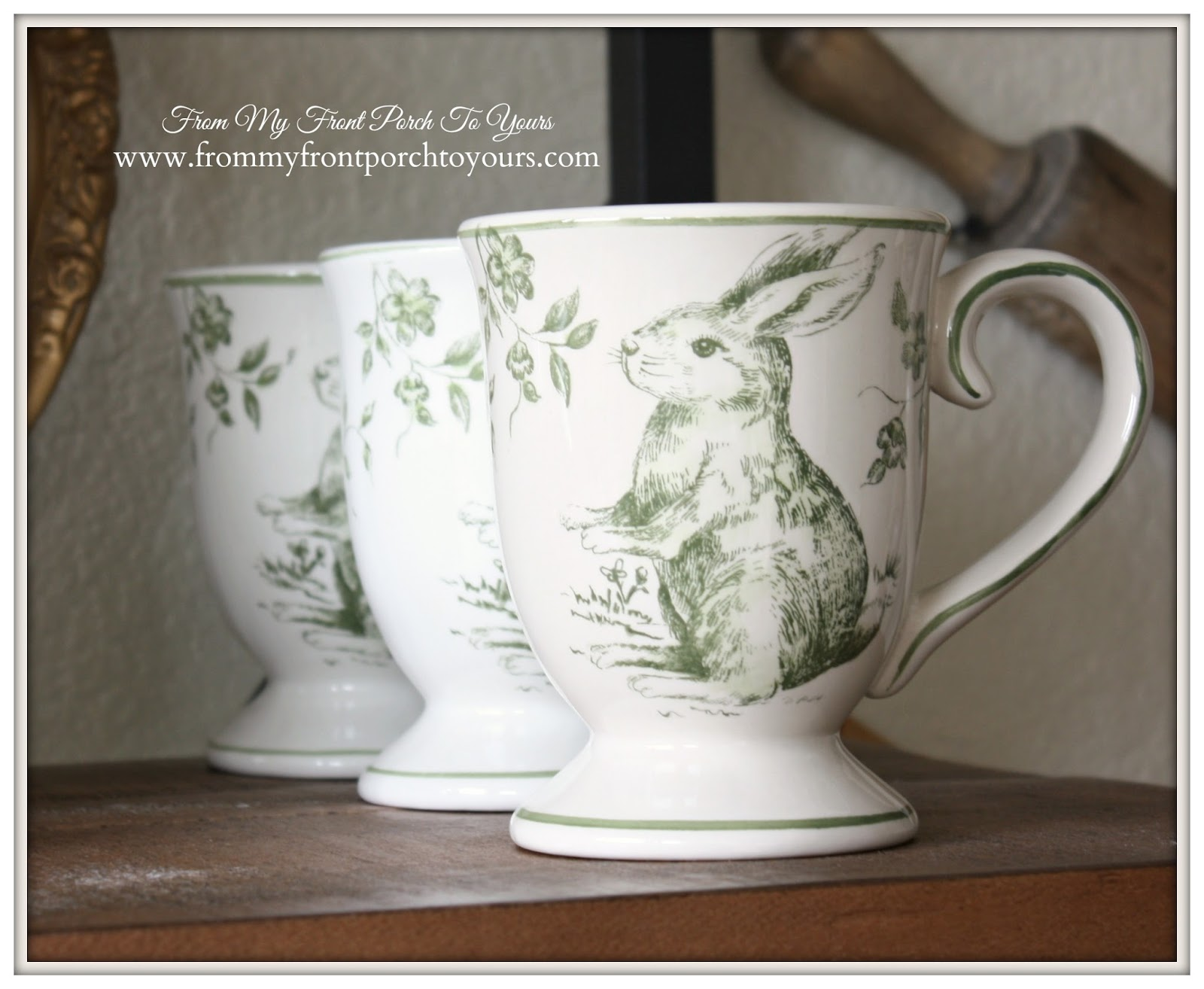 French Farmhouse Spring- Green & White Toile Bunny Mugs- Breakfast Nook- From My Front Porch To Yours