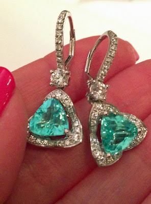 Paraiba tourmaline and diamond earrings in platinum, by Rina Limor. Via Diamonds in the Library.