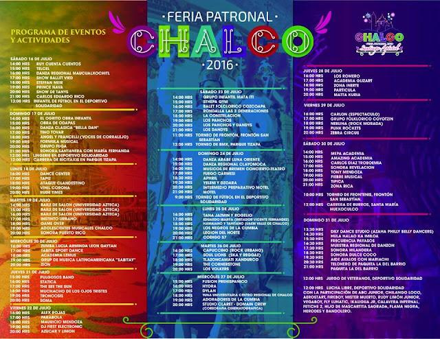 programa feria patronal chalco 2016