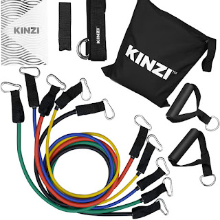 Kinzi Resistance Band with Set with Door Anchor, Ankle Strap, Exercise Chart and Resistance Band Carrying Case
