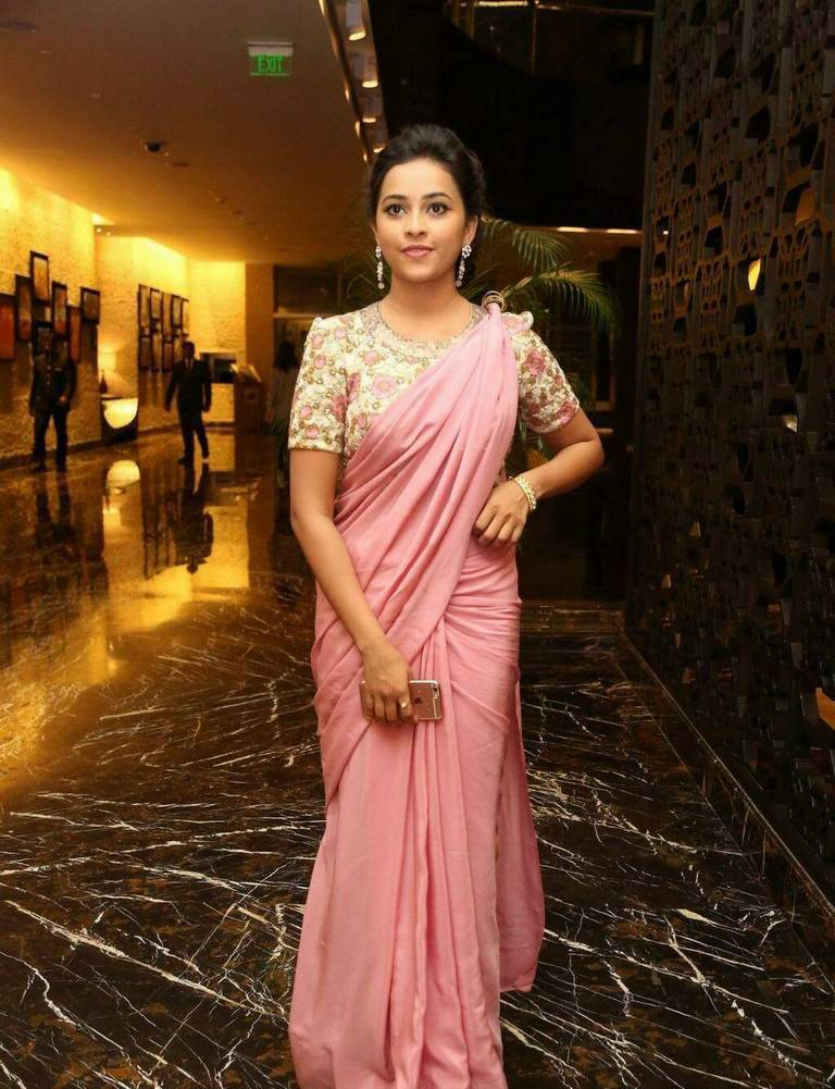 Sri Divya In Transparent Pink Saree At Film Audio Function