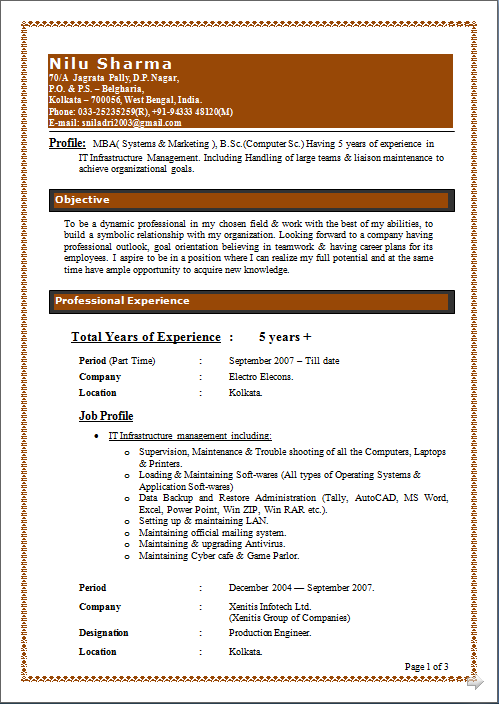 it infrastructure manager resumes