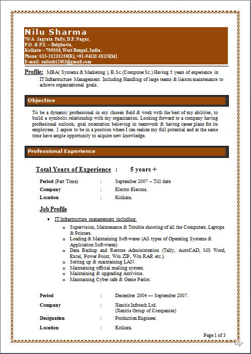 Resume models for mba marketing