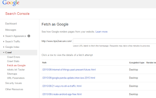 indexed by google in minutes using fetch as google