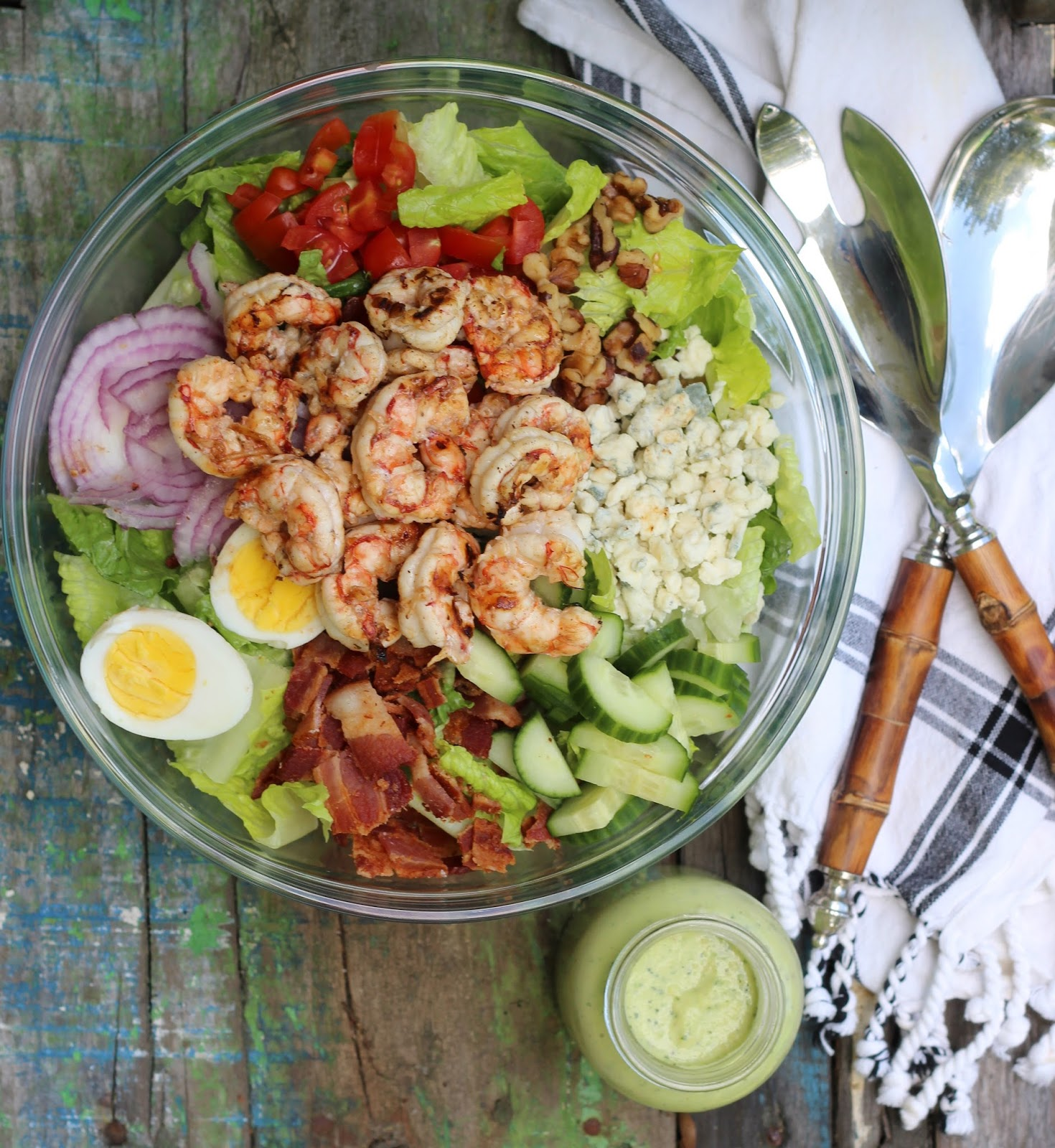 Grilled Shrimp Chopped Salad with Creamy Avocado Dressing