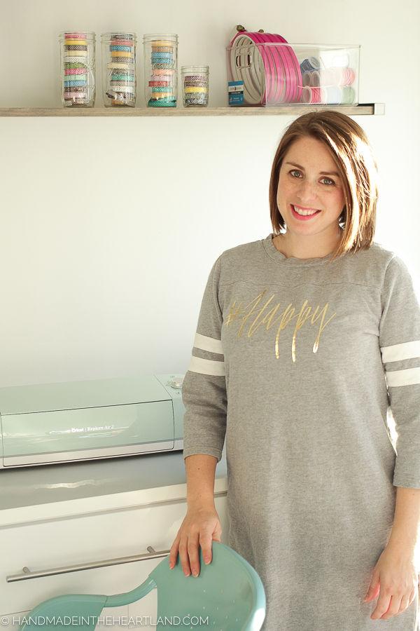 Full instructions for making your own graphic tee at home using iron-on vinyl and the Cricut Explore