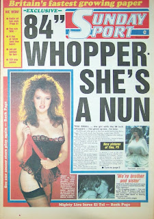 The front page of the Sunday Sport newspaper from 1-march-1987 with photo of Tanya Prime