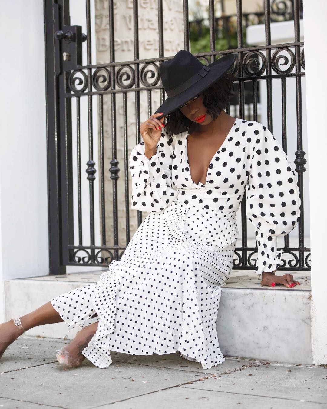 polka-dot trend,off shoulder, dress, monochrome, wrap dress