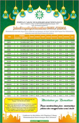 Jadwal Imsyakiyah Ramadhan 1441H/2020M Muhammadiyah wilayah Kebumen