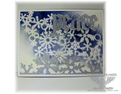 CraftyColonel Donna Nuce for Cards in Envy Simple Cards,  Tim Holtz thinlits and Snow Flurries. Memory Box Stencil
