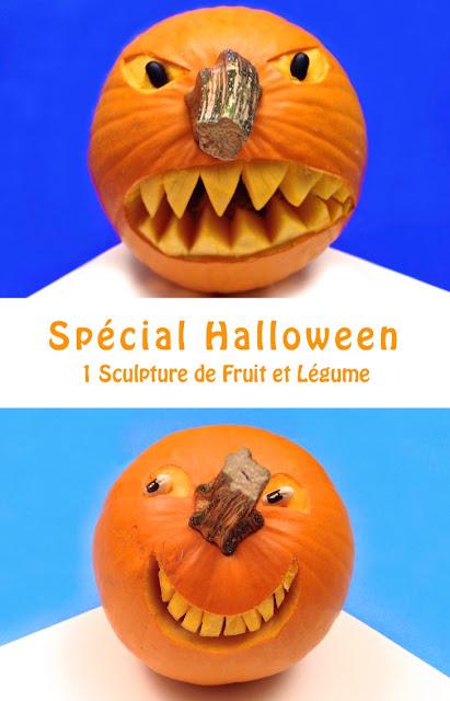1 sculpture de fruit et l gume sp cial halloween la citrouille en col re et la citrouille. Black Bedroom Furniture Sets. Home Design Ideas