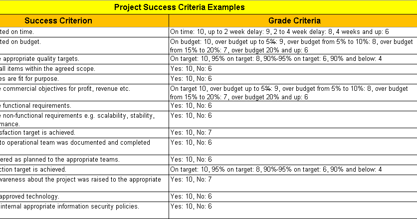 project success criteria excel template with 28 examples