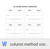column subtraction worksheets