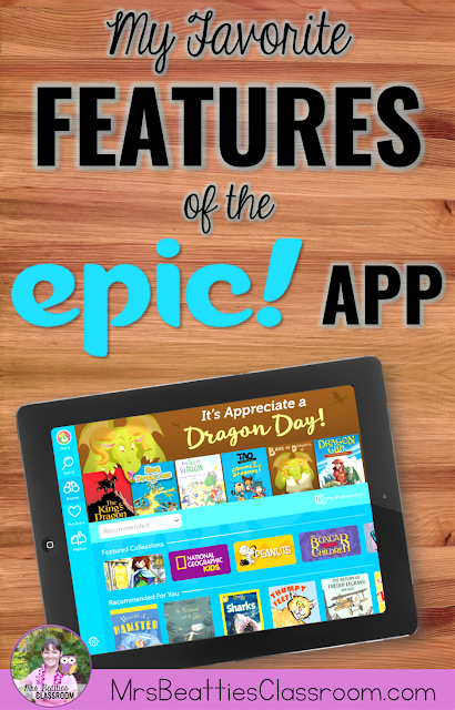 The Epic! reading app is your best option for online books for reading or listening centers. This FREE app for classrooms contains at least 25,000 top-quality books and audiobooks with many favorite titles, series and beloved characters to choose from. Take a look at my favorite app features here!