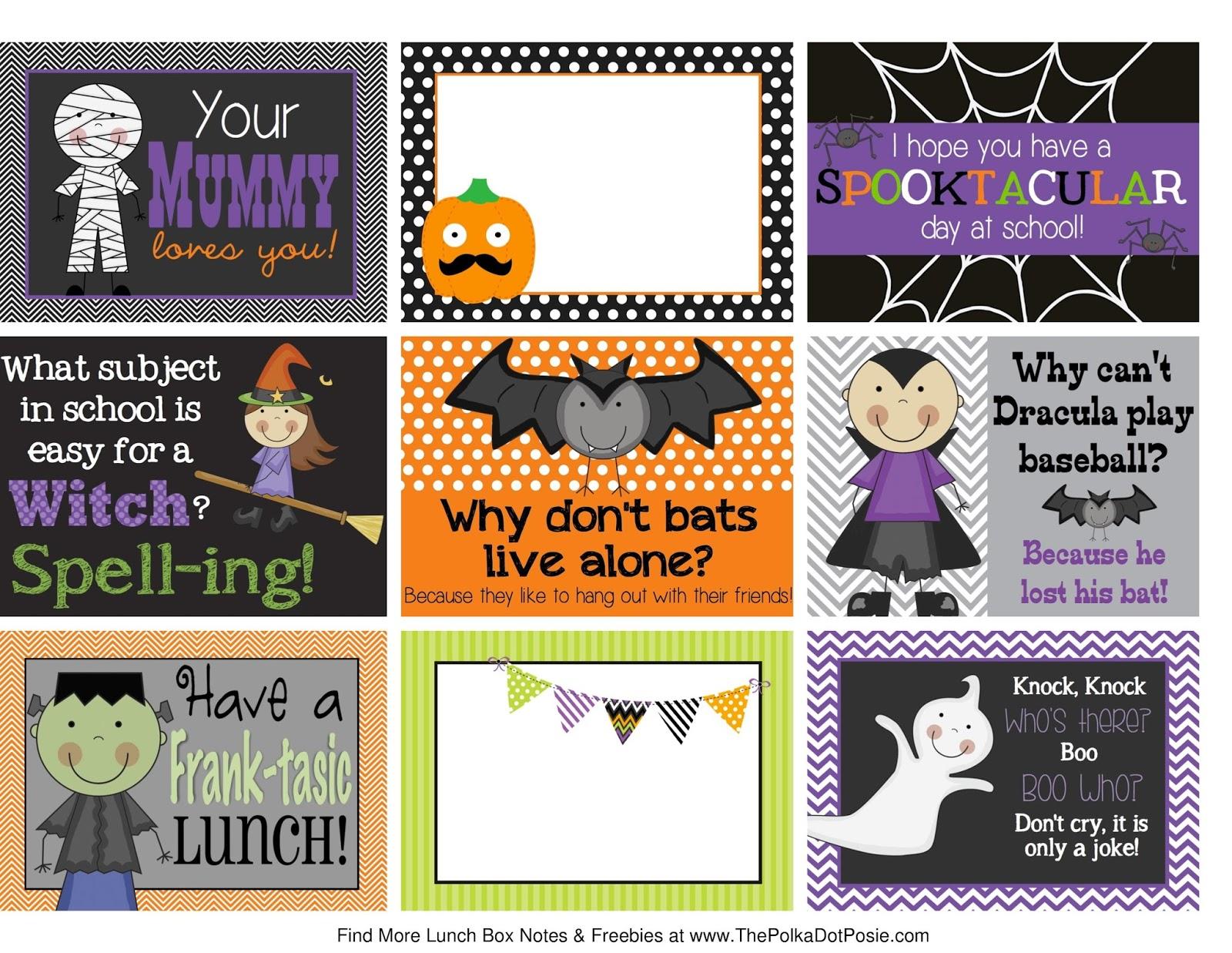 The Polka Dot Posie Printable Halloween Lunch Box Notes
