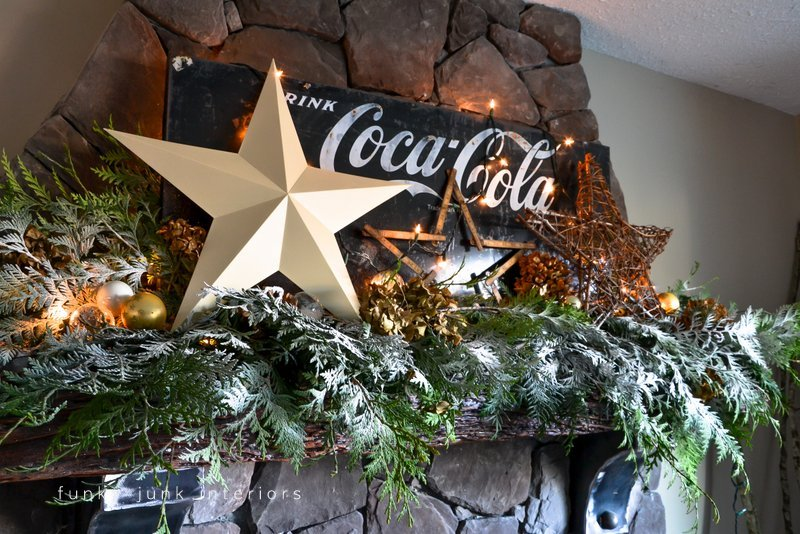 Coca Cola inspired Christmas fireplace mantel decorating with stars - via :  http:// - Coca Cola Christmas Fireplace MantelFunky Junk Interiors