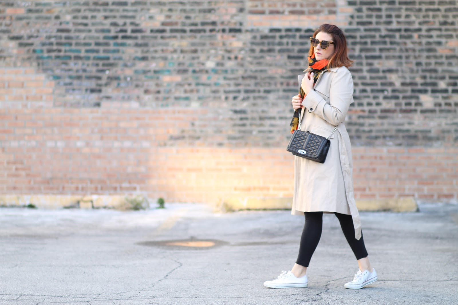 converse, red hair, causal outfit, trench coat, striped tee, outfit ideas, rebecca minkoff love crossbody, karen walker sunglasses
