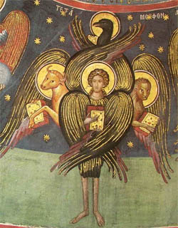 Cherubim have four faces: one of a man, an ox, a lion, and an eagle