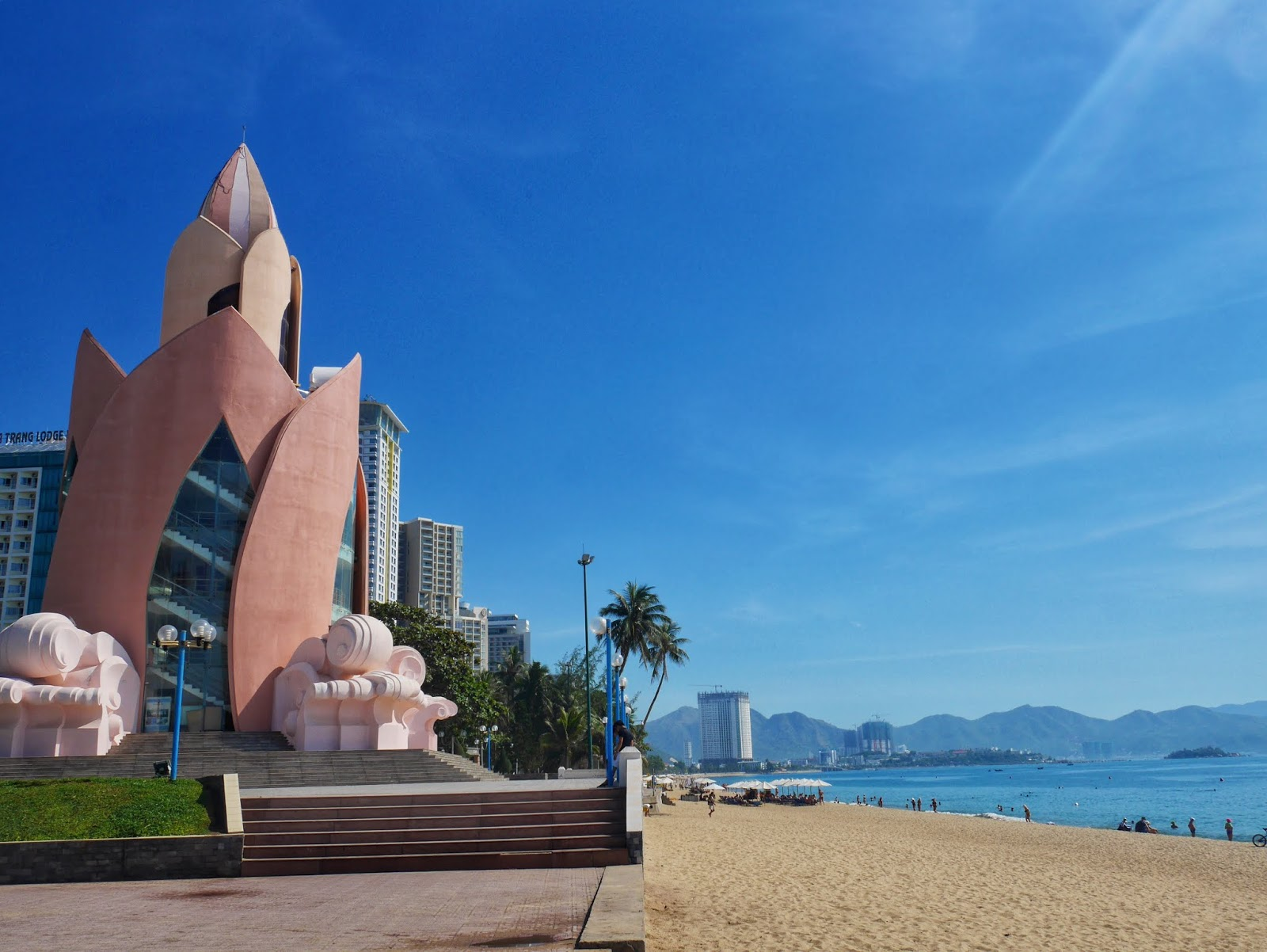 pink tower and sea in nha trang vietnam