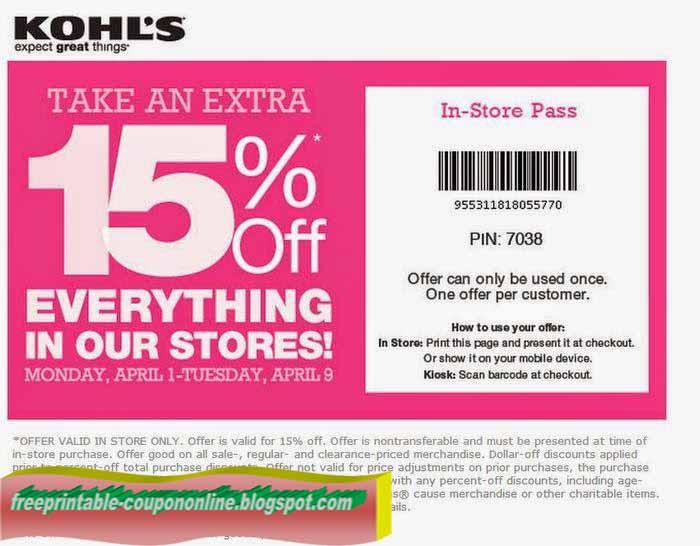 Kohls coupon 2018 april