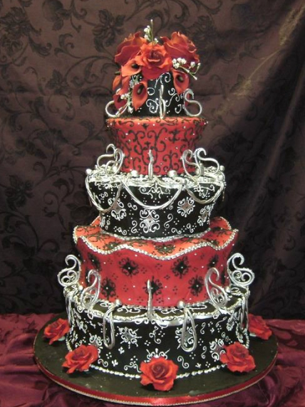Wedding Cakes Pictures  Red and Black Wedding Cakes Red and Black Wedding Cakes