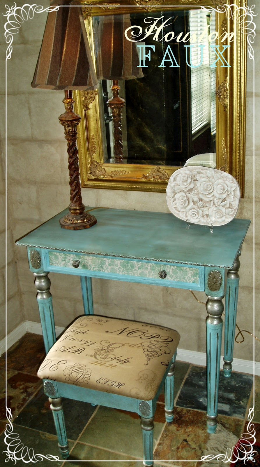 "Unique Accent Table Faux Painting + Furniture: The ""elizabeth"" Vanity & Stool"