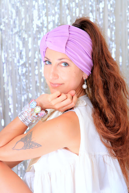 Bow Turban Headband in Lilac by Mademoiselle Mermaid.