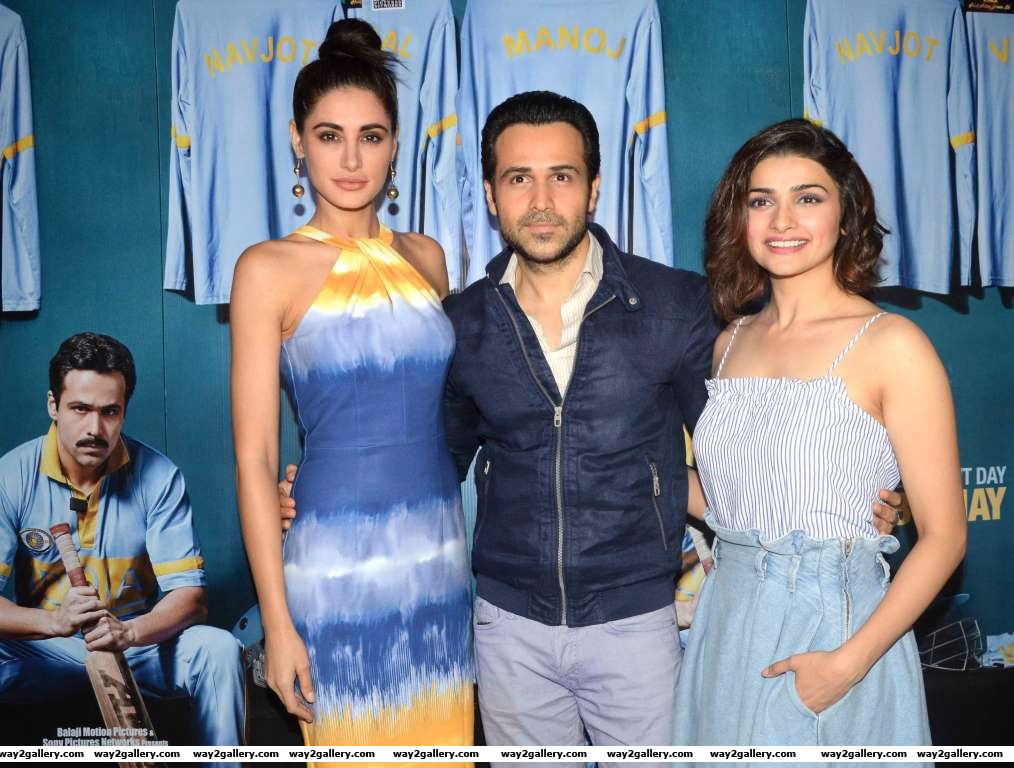 Nargis Fakhri Emraan Hashmi and Prachi Desai snapped at a promotional event for their upcoming film Azhar