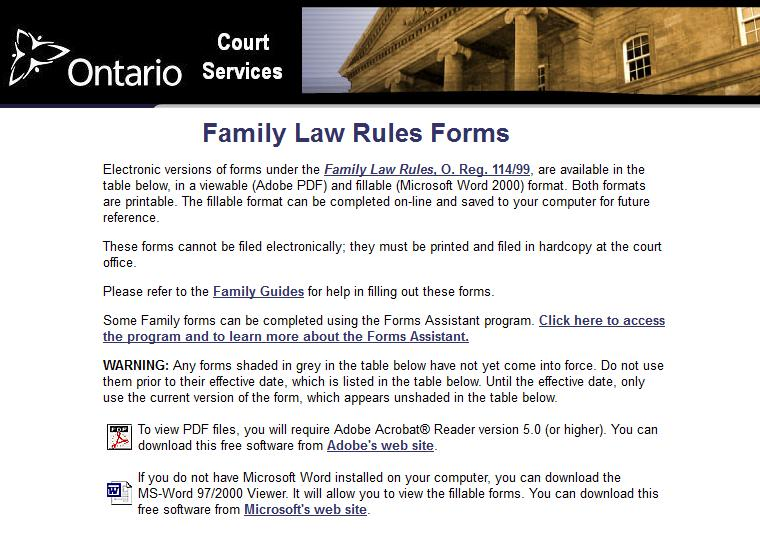 Cas ontario blog ontario family law court forms electronic versions of forms under the family law rules o reg 11499 are available in the table below in a viewable adobe pdf and fillable microsoft solutioingenieria Gallery
