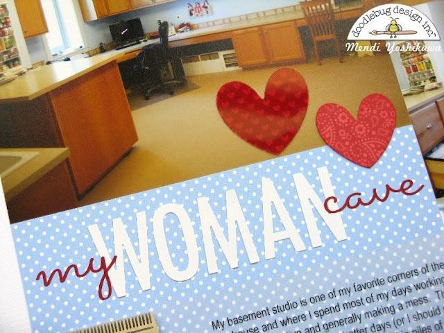 Doodlebug Design: Yankee Doodle My Woman Cave All About Me Scrapbook Layout by Mendi Yoshikawa